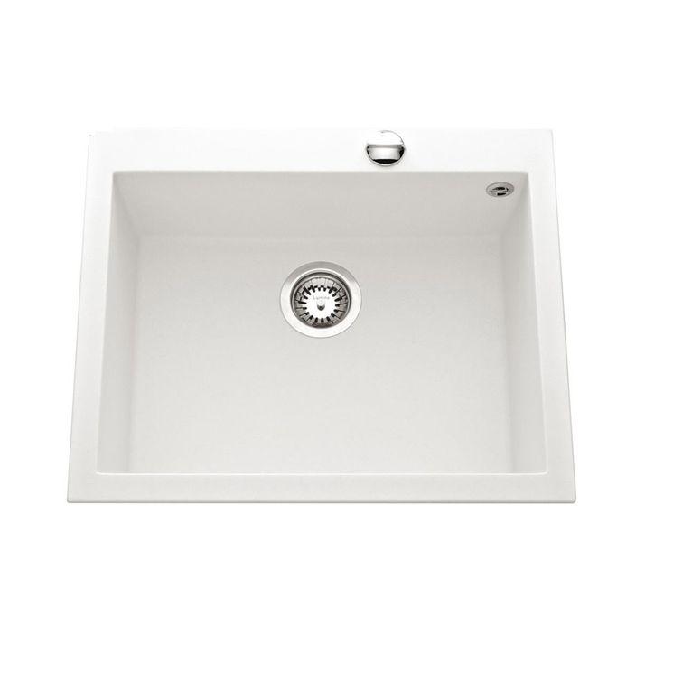 Évier granit blanc Luisina QUADRILLE 1 bac  570x500