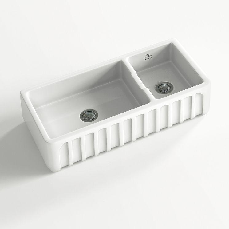 Évier céramique à poser VICTORIA 1 bac 1/2 blanc (997 x 480 x 220 mm )