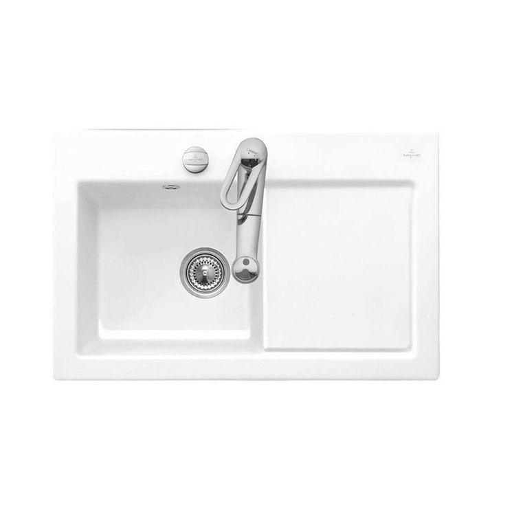 Evier céramique blanc Villeroy & Boch SUBWAY PURE 1 bac - égouttoir droite