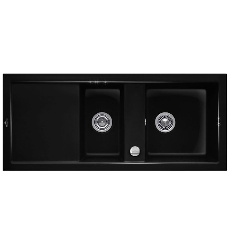 evier 2 bacs en c ramique noir livraison domicile de la marque villeroy boch. Black Bedroom Furniture Sets. Home Design Ideas