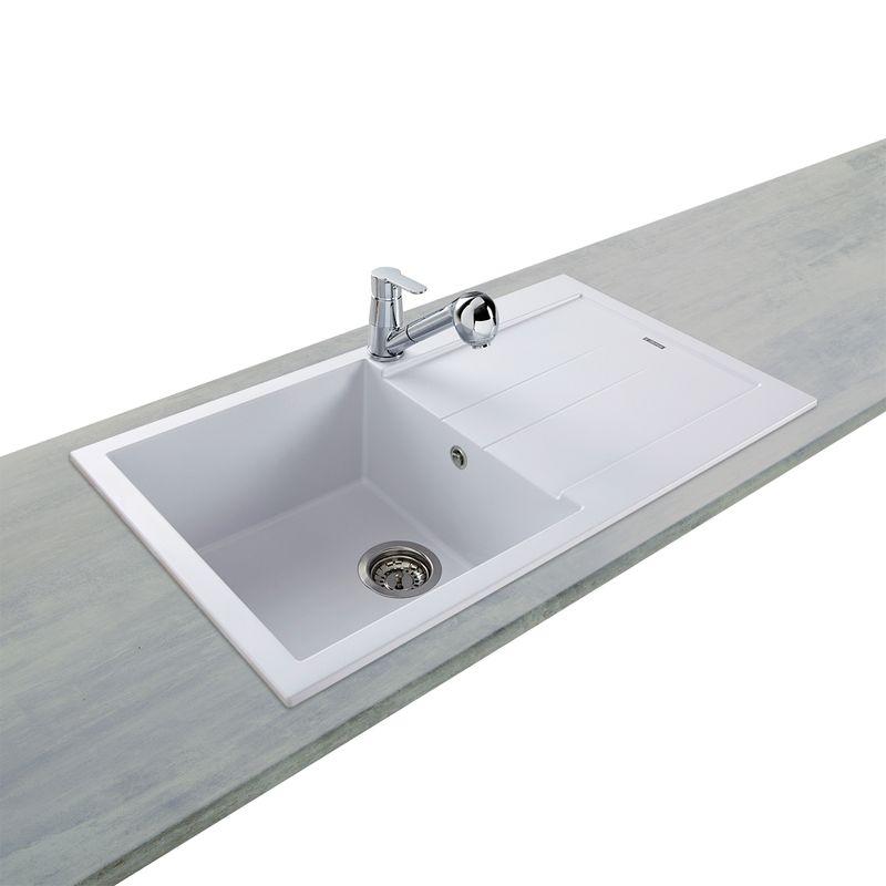 Lot evier granit blanc 1 bac elegance mitigeur hansgrohe for Evier resine ou granit