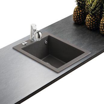 Évier granit noir moucheté Luisina QUADRILLE 1 bac  410x500