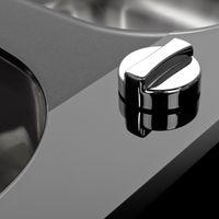 Évier inox lisse et verre noir Kümbad PEARL 2 bacs 1 égouttoir