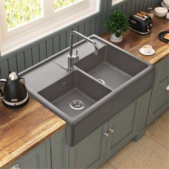 Évier à poser granit gris Kümbad KIWI 2 bacs