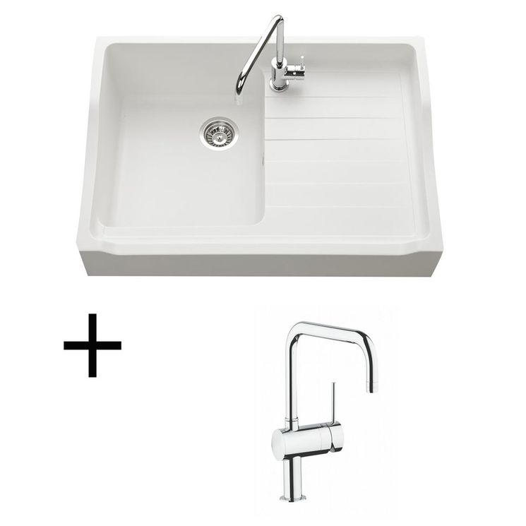 Lot Evier granit blanc 1 bac TAMARIN + Mitigeur GROHE CRBMI174