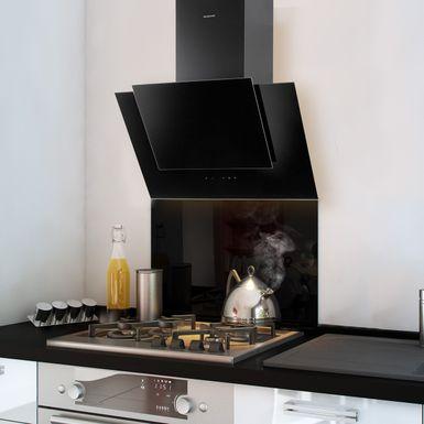 cr dence fond de hotte verre brillant noir hauteur. Black Bedroom Furniture Sets. Home Design Ideas