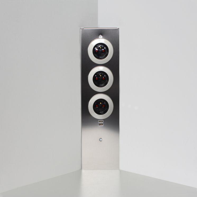 Prise de cuisine - Bloc ESQUINA 3 prises d´angle avec 2 ports USB Inox brossé