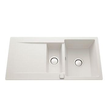 Évier granit blanc Luisina EPURE 1 bac 1/2 - 1 égouttoir