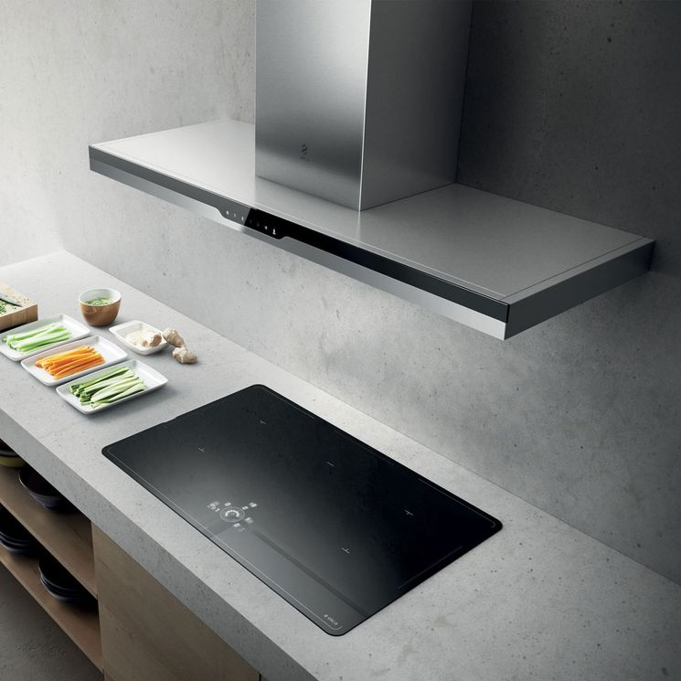 Hotte cuisine murale Elica METEORITE inox et verre noir 1200 (mm)