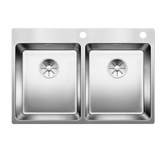 Evier inox satiné  BLANCO ANDANO 340/340-IF/A 2 bacs