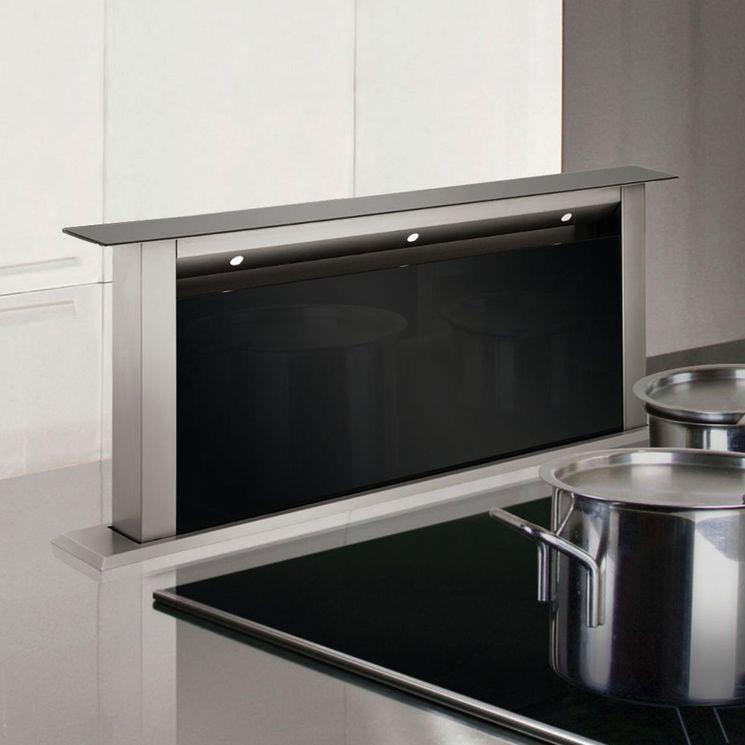 Hotte cuisine escamotable Silverline STARLA inox et verre noir 60 cm