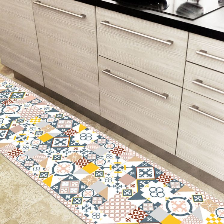 Tapis en vinyle - Carreaux de Ciment PATTY Bleu Jaune