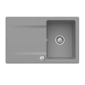 Evier à encastrer CeramicPlus gris stone Villeroy & Boch SILUET 45 1 bac 1 égouttoir