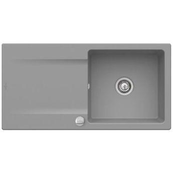 Evier à encastrer CeramicPlus gris stone Villeroy & Boch SILUET 60 1 bac 1 égouttoir