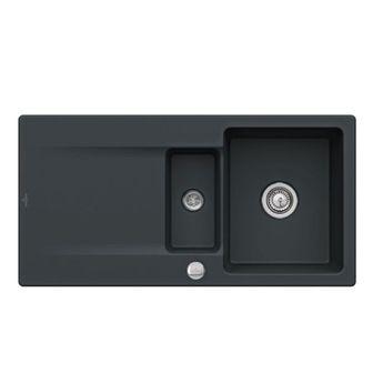 Evier à encastrer CeramicPlus noir mat ebony Villeroy & Boch SILUET 60 1 bac 1/2 1 égouttoir