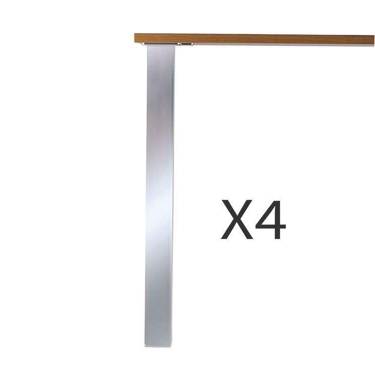 Lot 4 pieds de table carré aspect inox brossé L60xH870