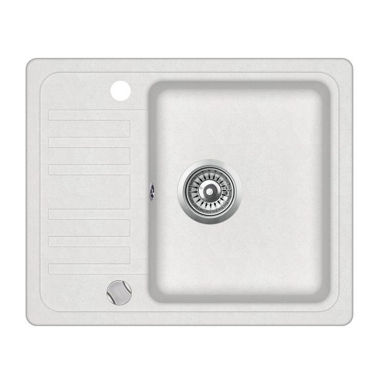 Evier granit blanc Aquasanita NOTUS 1 bac - 1 petit égouttoir
