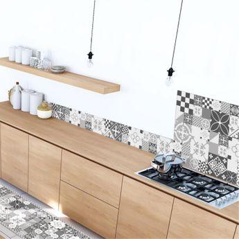 Crédence cuisine aluminium 99 Déco - Carreaux de Ciment PATTY Gris