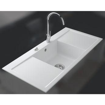 Evier céramique blanc mat Systemceram CLEYA 1 grand bac 2 égouttoirs