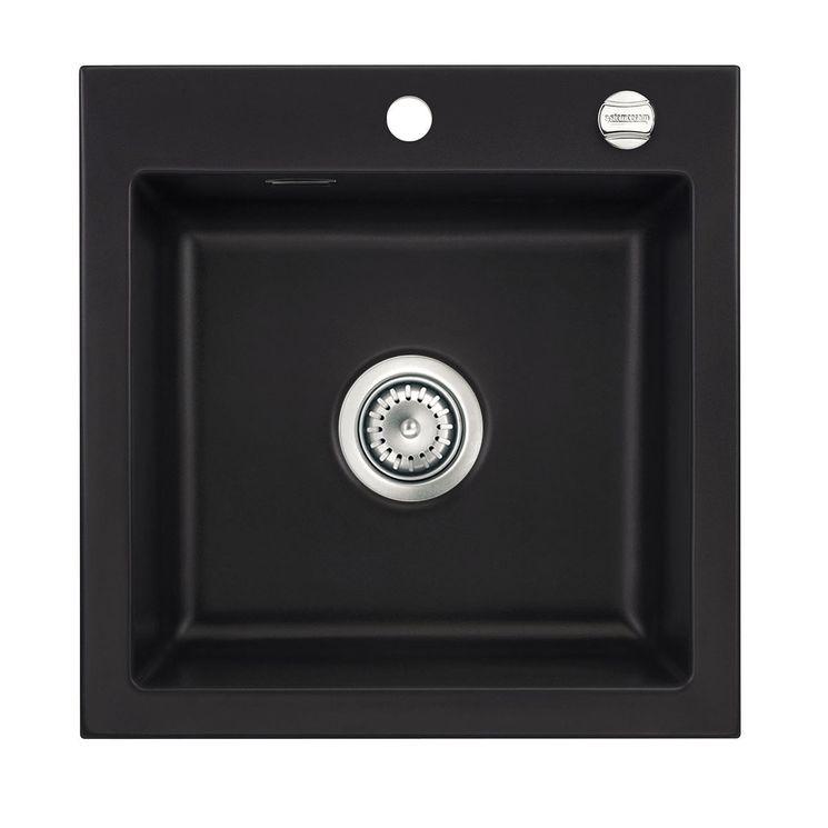 Évier céramique noir Systemceram MERA 1 bac 510x510 mm