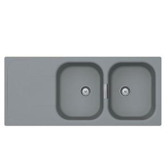 Évier granit gris perle Luisina WAVE 2 bacs 1 égouttoir
