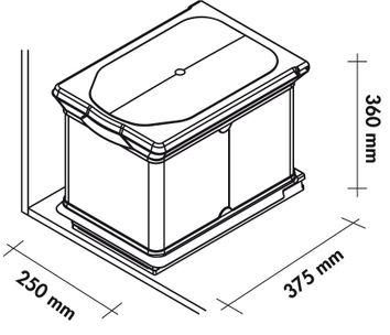 poubelle de cuisine encastrable 16 litres cacpo005. Black Bedroom Furniture Sets. Home Design Ideas