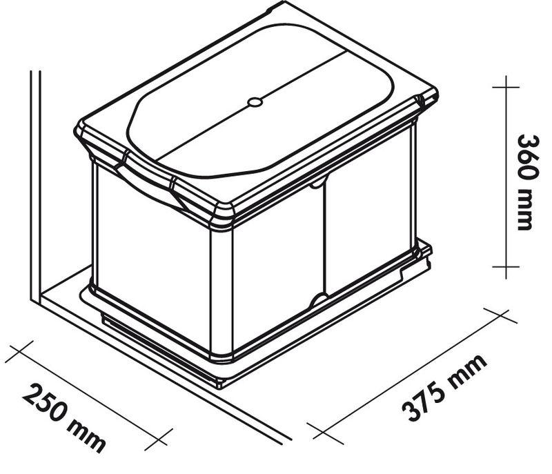 Poubelle de cuisine encastrable 16 litres cacpo005 for Bac cuisine inox
