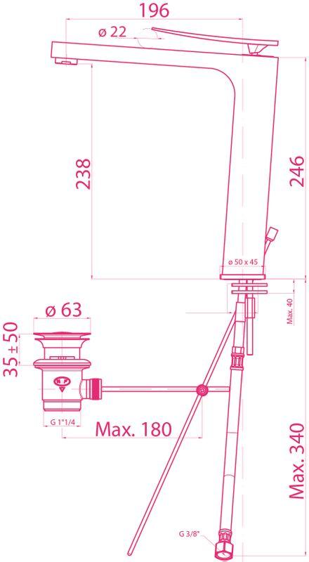 mitigeur haut tornado pour vasque de salle de bains h 246 mm