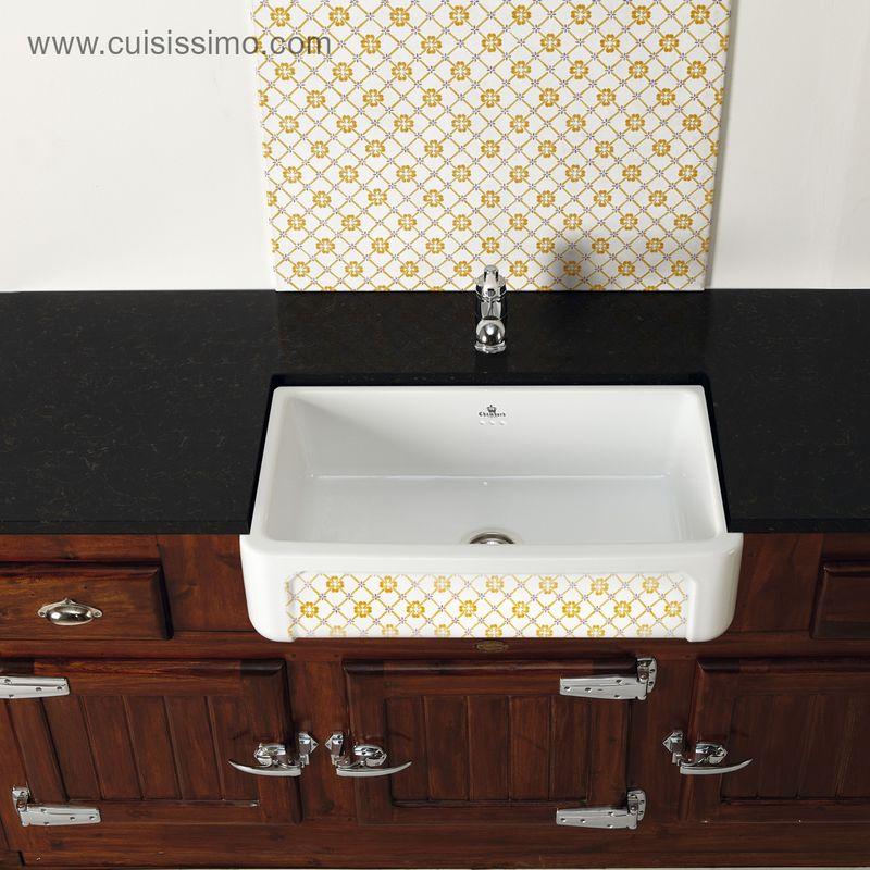vier poser en c ramique chambord de la gamme kate 1 bac blanc et jaune provence. Black Bedroom Furniture Sets. Home Design Ideas