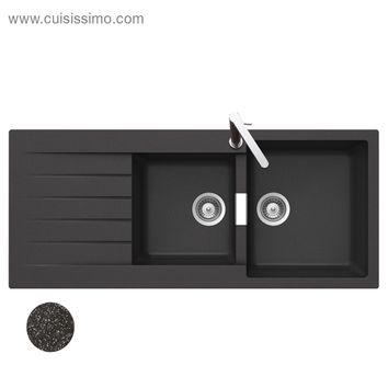 Lot evier granit noir 2 bacs lokti mitigeur hansa for Evier noir 2 bacs