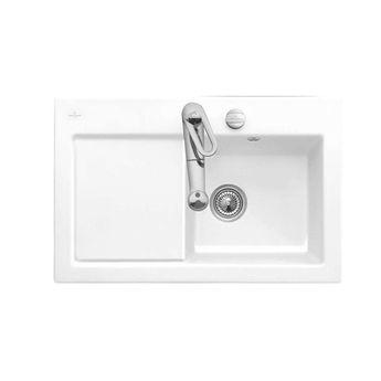 Evier céramique blanc Villeroy & Boch SUBWAY PURE 1 bac - égouttoir gauche