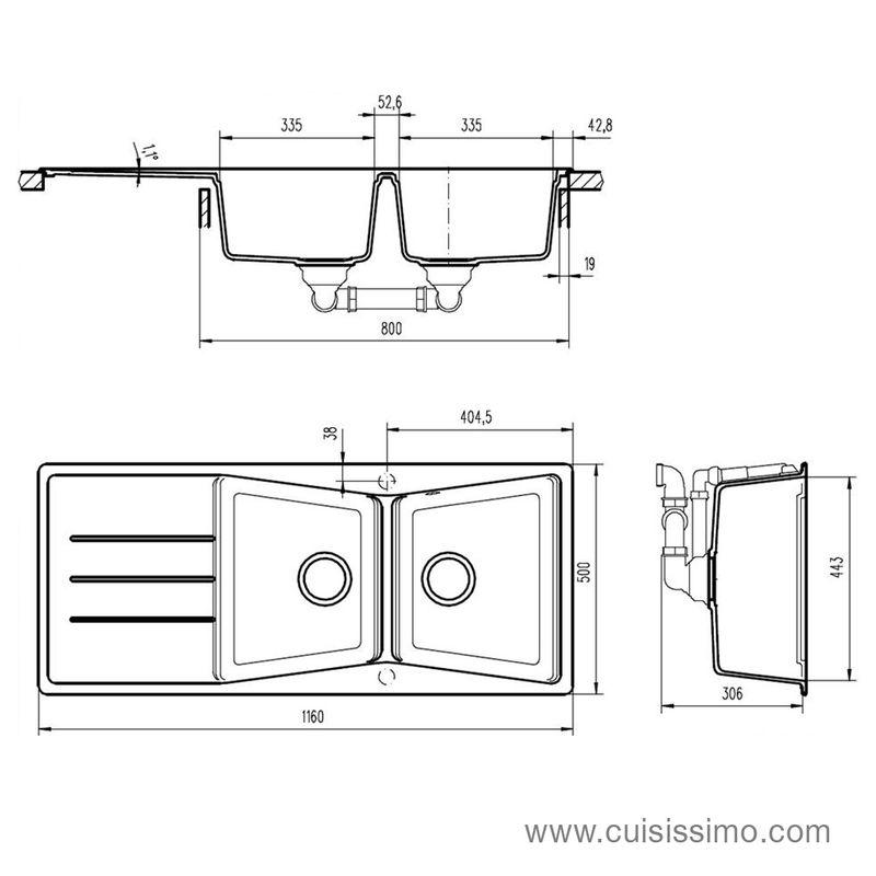 vier granit noir ewi bruyere 2 bacs 1 gouttoir cuisissimo. Black Bedroom Furniture Sets. Home Design Ideas