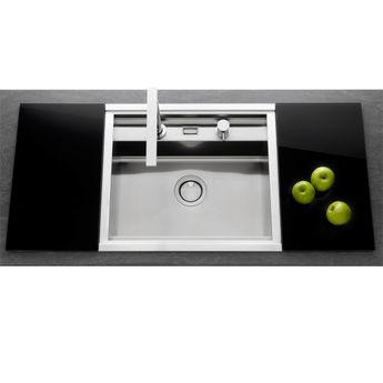 Évier inox lisse Apell OSIRIS 1 bac 570x500 + Planches en verre noir + Mitigeur Rétractable
